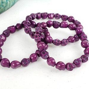 Magen's Fairytale Creations Jewelry - 3/$20 Just Like Candy Purple Stone Skull Bracelet